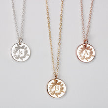 Load image into Gallery viewer, Pine Wreath Initial Disc Necklace