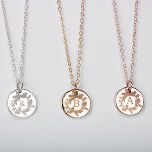Pine Wreath Initial Disc Necklace