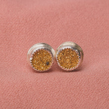 Load image into Gallery viewer, No. 2 Gold Druzy Quartz Earrings with Threaded Screw on Posts // The River Valley Collection