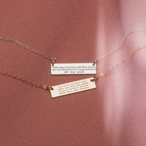 Custom Quote Horizontal Bar Necklace