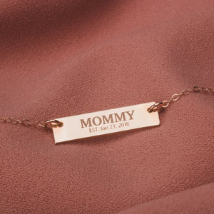 Custom New Mom Bar Necklace