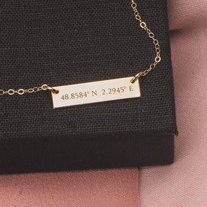Custom Coordinates Horizontal Bar Necklace