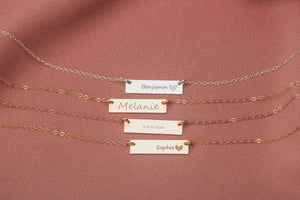 Custom Name Horizontal Bar Necklace
