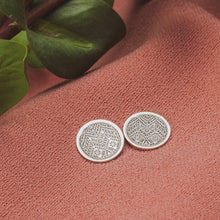 Load image into Gallery viewer, Signature MGJ Aztec Pattern Disc Stud Earrings // The River Valley Collection