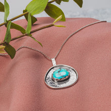 Load image into Gallery viewer, Aqua Blue Morenci Turquoise Gemstone Necklace