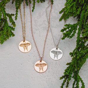 Luna Moth Disc Necklace