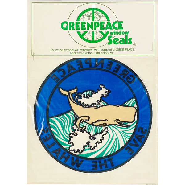 VINTAGE GREENPEACE SAVE THE WHALES WINDOW SEAL