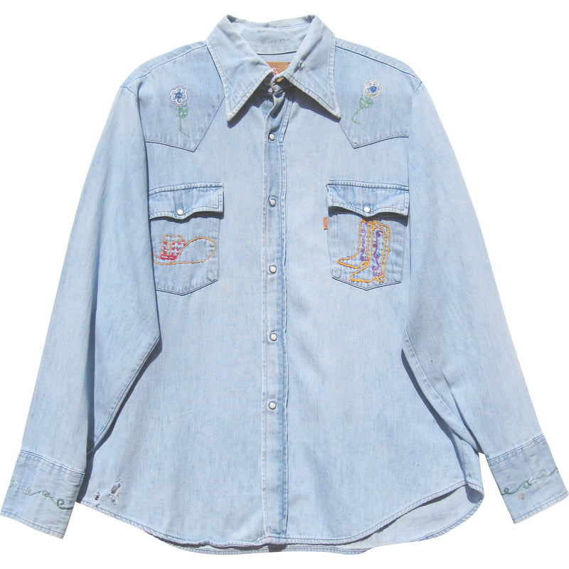 VINTAGE HAND EMBROIDERED LEVI'S DENIM SHIRT