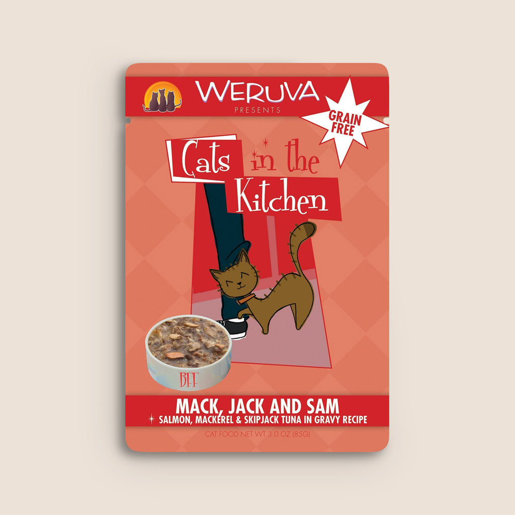 Cats in the Kitchen Cat Food Can Cats in the Kitchen Mack, Jack, and Sam 3 Ounce Pouch
