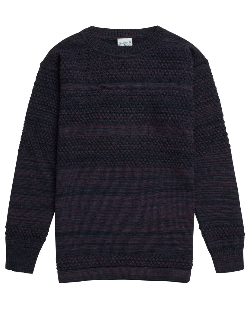 FISHERMAN crew neck<br>purple melange mix