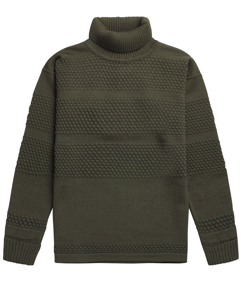 FISHERMAN sweater | høj hals<br>deep bronze green