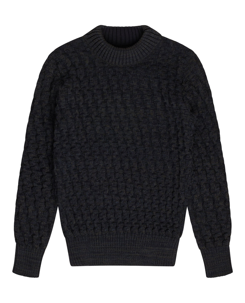 STARK sweater | høj hals<br>blended navy blue