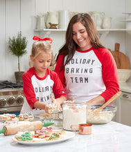 Load image into Gallery viewer, Holiday Baking Team Baseball T-Shirt, Red