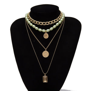 Multi layer Virgin Mary Coin Necklace