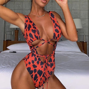 Stunning Red Leopard Swimsuit