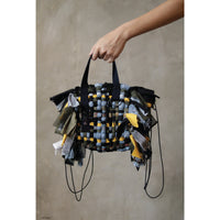 Reconstructed Handmade Weaving Backpack Handbag