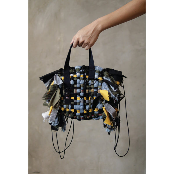 Reconstructed Handmade Weaving Backpack Handbag - Bev C