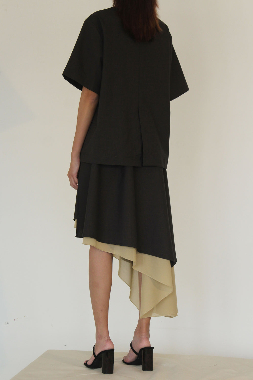 Cotton and Voile Spilt Skirt