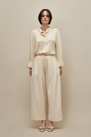 Ivory Wide Satin Trousers