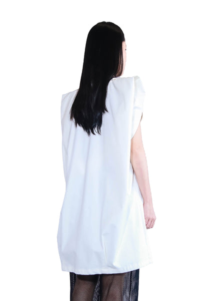 White 3D Shoulder Coat Dress