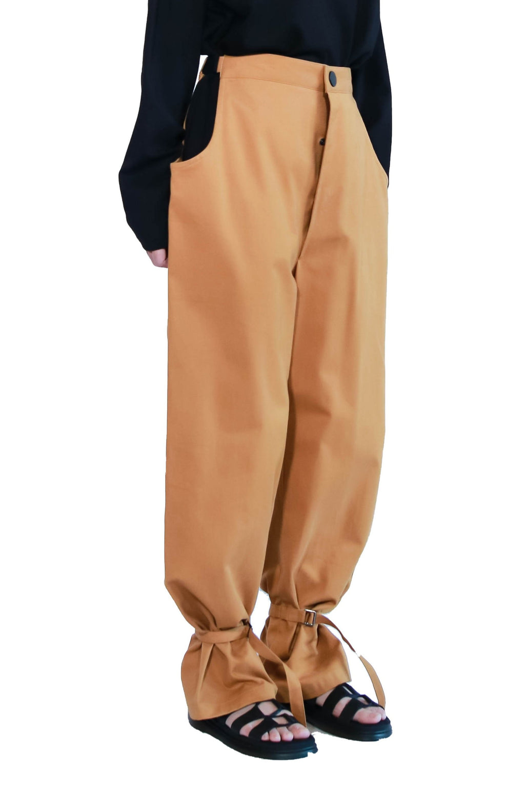 Dark Mustard Suspended Long Pants