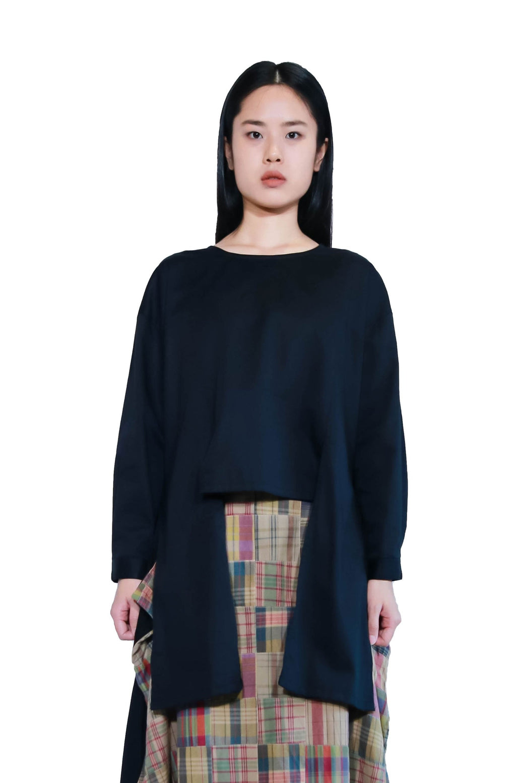 [Made To Order] Black Multi Wear Wrap Tie Long Sleeves Top