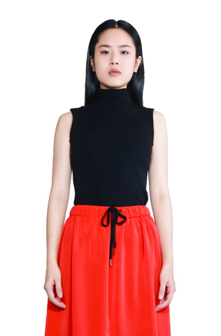 Bev C Embroidery Logo Turtleneck Sleeveless Top