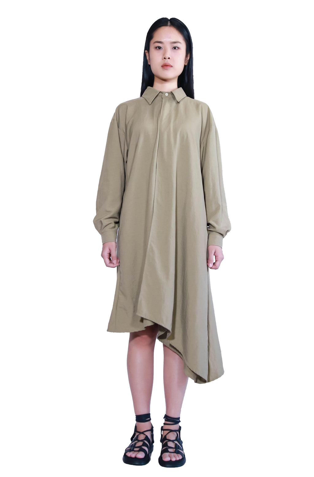 Asymmetry Long Sleeve Top Dress