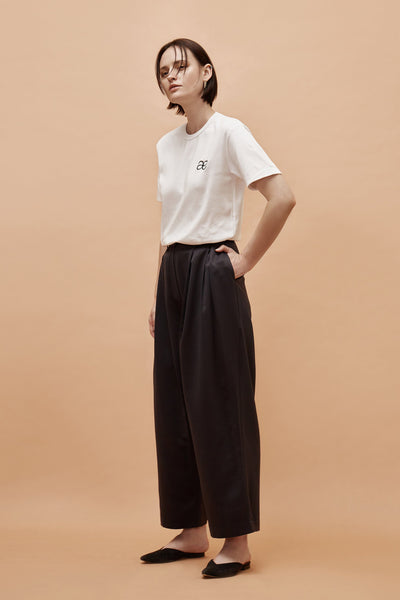 Black Wide Satin Trousers