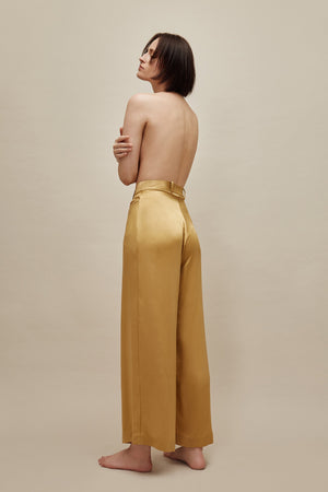 Mustard Wide Silk Trousers
