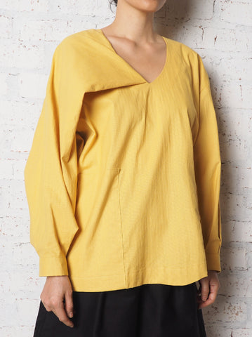 V Collar Long Sleeves Top - Yellow