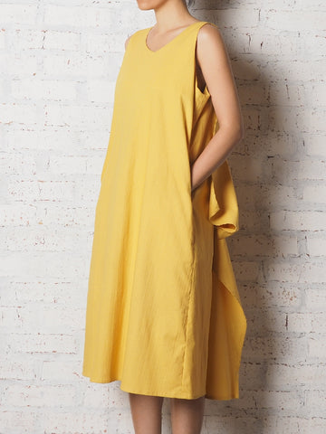 Draping Sleeveless Long Dress - Yellow
