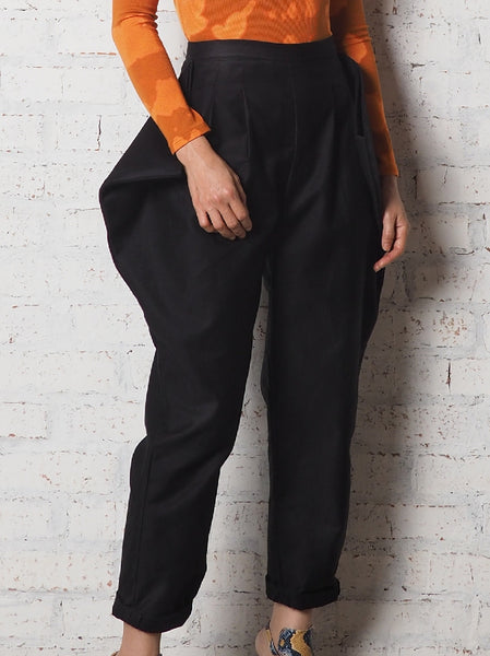Triangle Pockets Panel Pants - Black