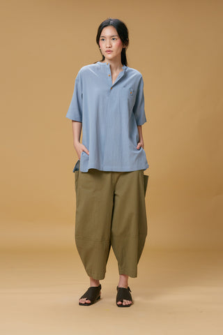 Tatap Mandarin Shirt (Dusty Blue)