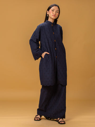Sayang Embroidered Kebarung Set (Navy Blue)