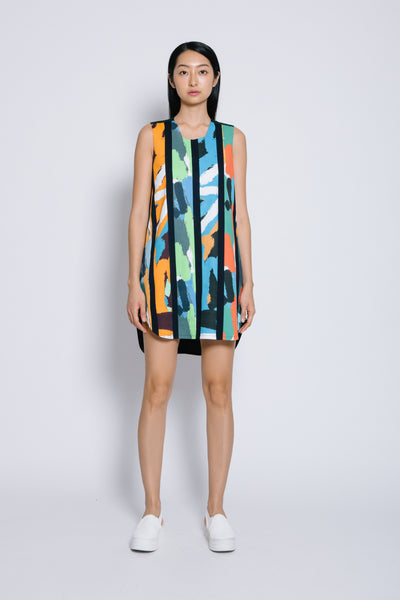 MIXED-PRINTS MINI DRESS