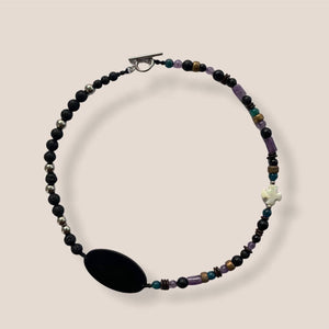 """SepTem"" Lava Stone Mix Crystal Necklace"