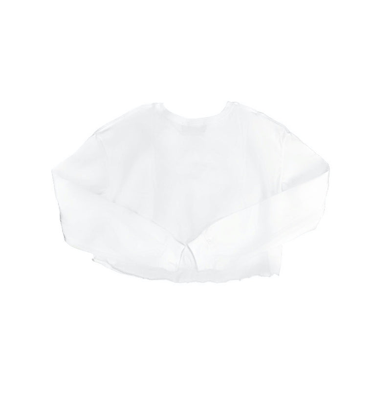Tsuru Cropped Long Sleeve Tee - White