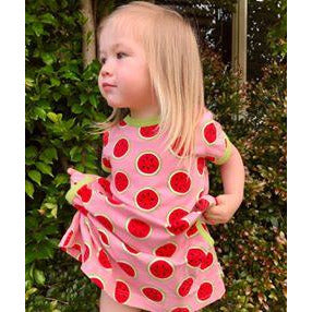 Maxomorra - Short Sleeve Dress WATERMELON (last two sz 9-12M & 18-24M)
