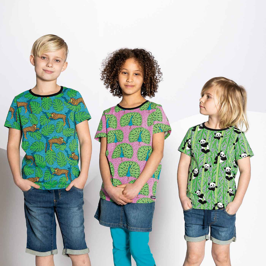 Villervalla - Peacock print short sleeve T-shirt (last two sz 2-3Y & 3-4Y)