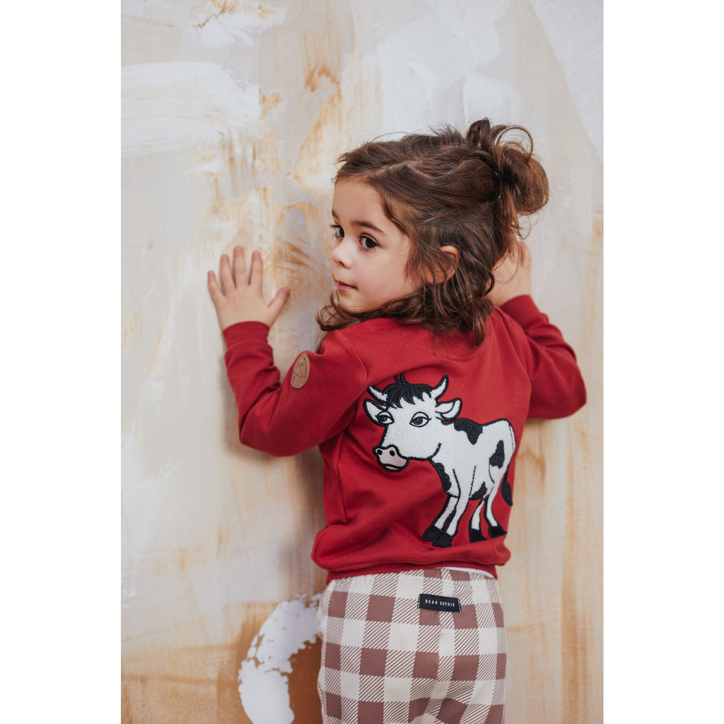 Dear Sophie - Cow - Bomber Jacket Red (last one sz 7-8Y)