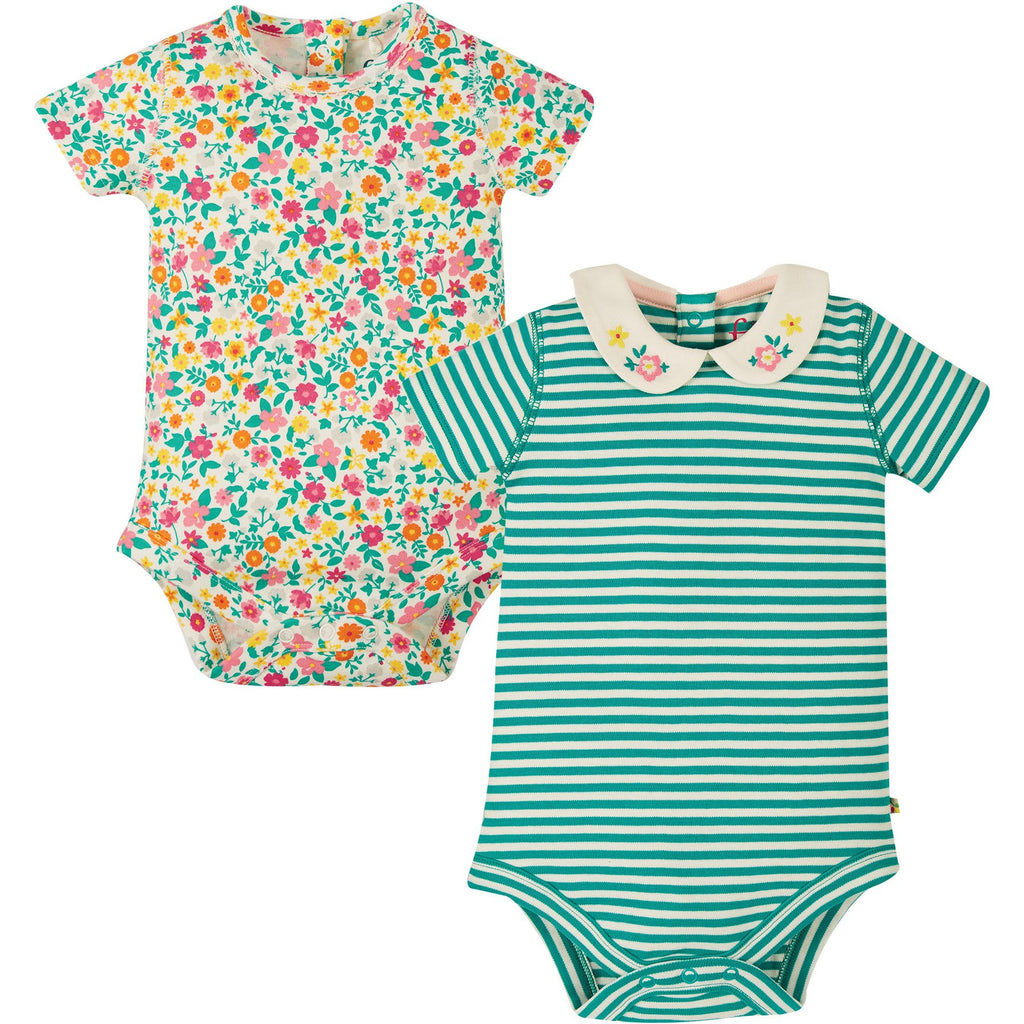 Frugi - Pretty Collar Body 2 Pack Flower Multipack