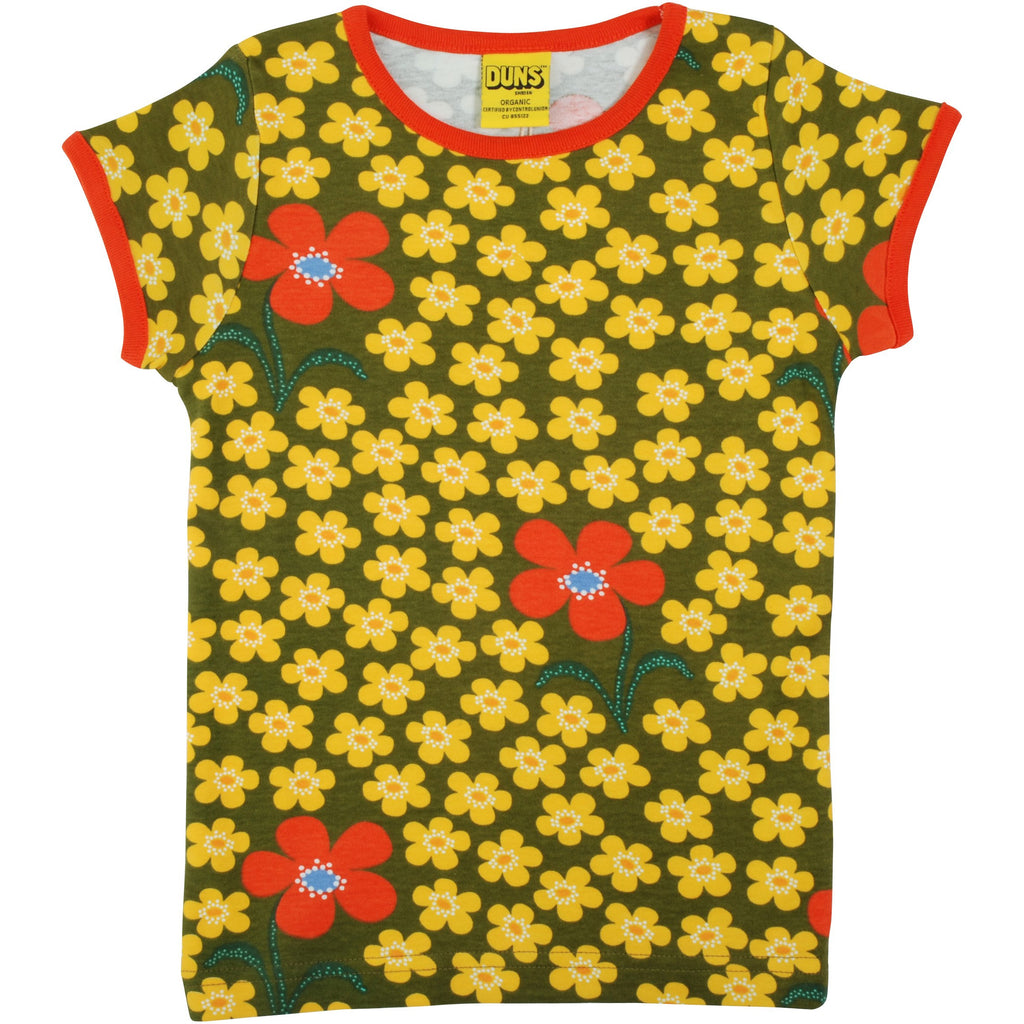 Duns Sweden - Flower Olive - Short Sleeve Top