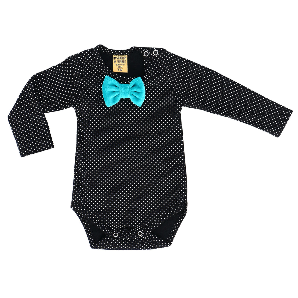 Raspberry Republic - Guinea Fowl | Body Long Sleeve Bow tie (last one sz 6-9M)