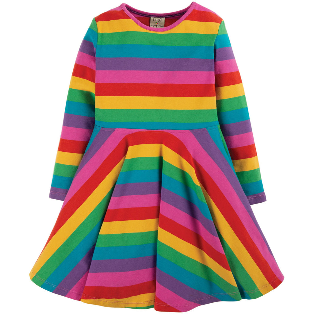 Frugi - Sofia Skater Dress - Foxglove Rainbow Stripe