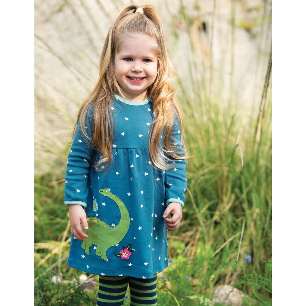 Frugi - Dolcie Dress Steely Blue Star/Dino - PopSee Online