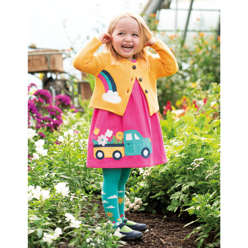 Frugi - Lily Cord Dress Flamingo/Flower Truck - PopSee Online