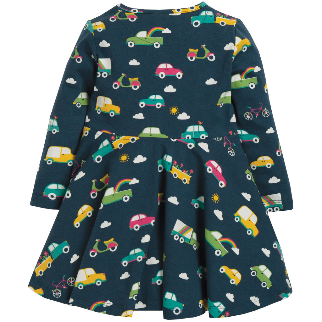 Frugi - Sofia Skater Dress Space Blue Rainbow Roads - PopSee Online