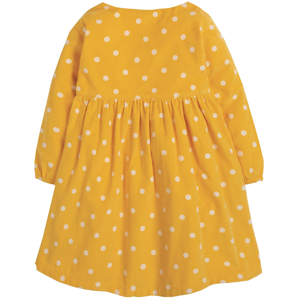 Frugi - Bonnie Button Dress Bumble Bee Spot/Rainbow - PopSee Online
