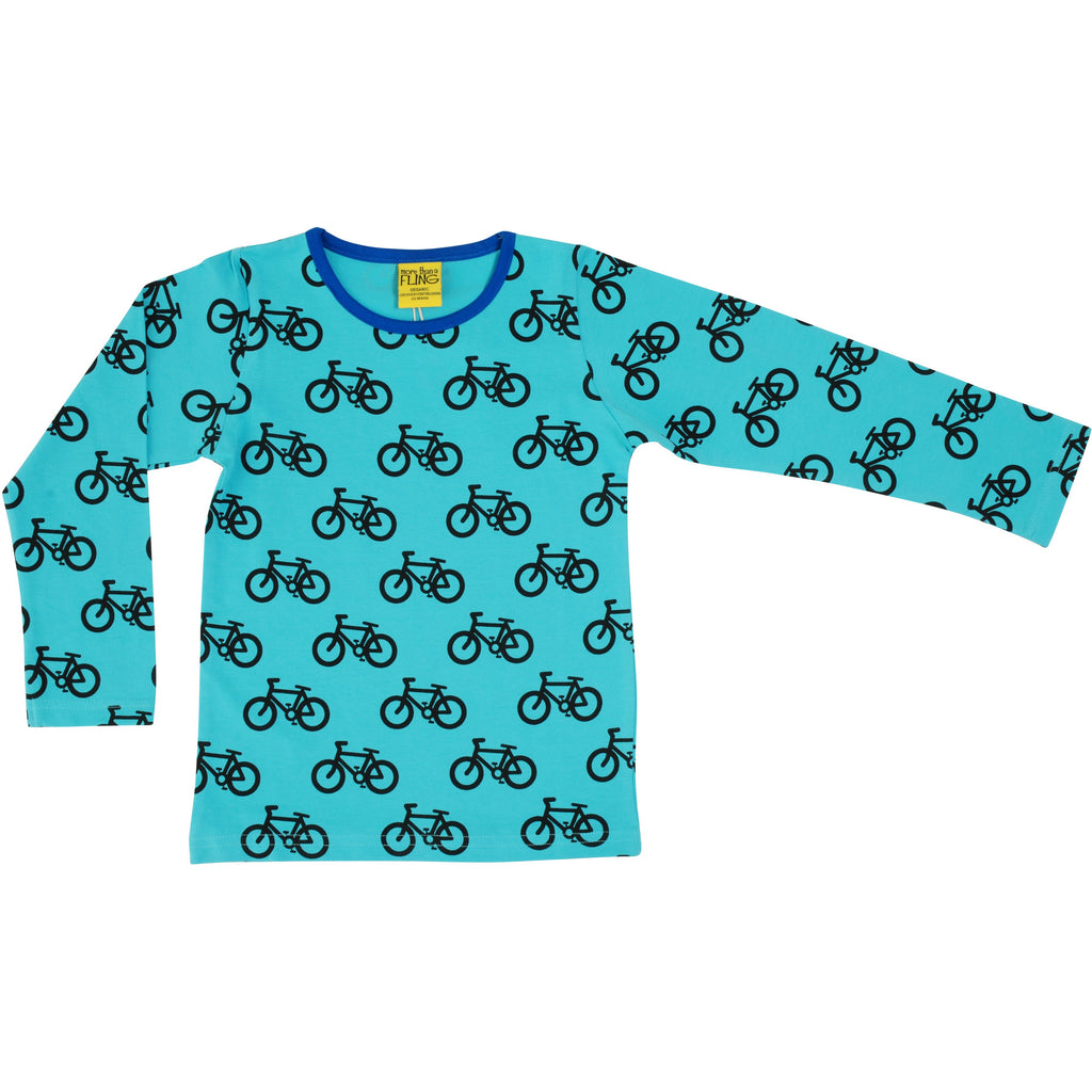MORE THAN A FLING - Bike Turquoise Long Sleeve Top (last two sz 5-6Y & 6-7Y)